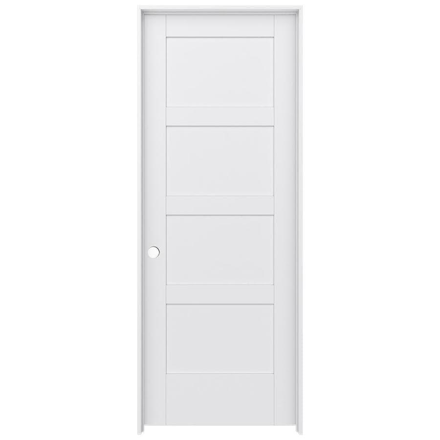 JELD WEN MODA Primed Solid Core MDF Pine Single Prehung Interior Door  (Common: