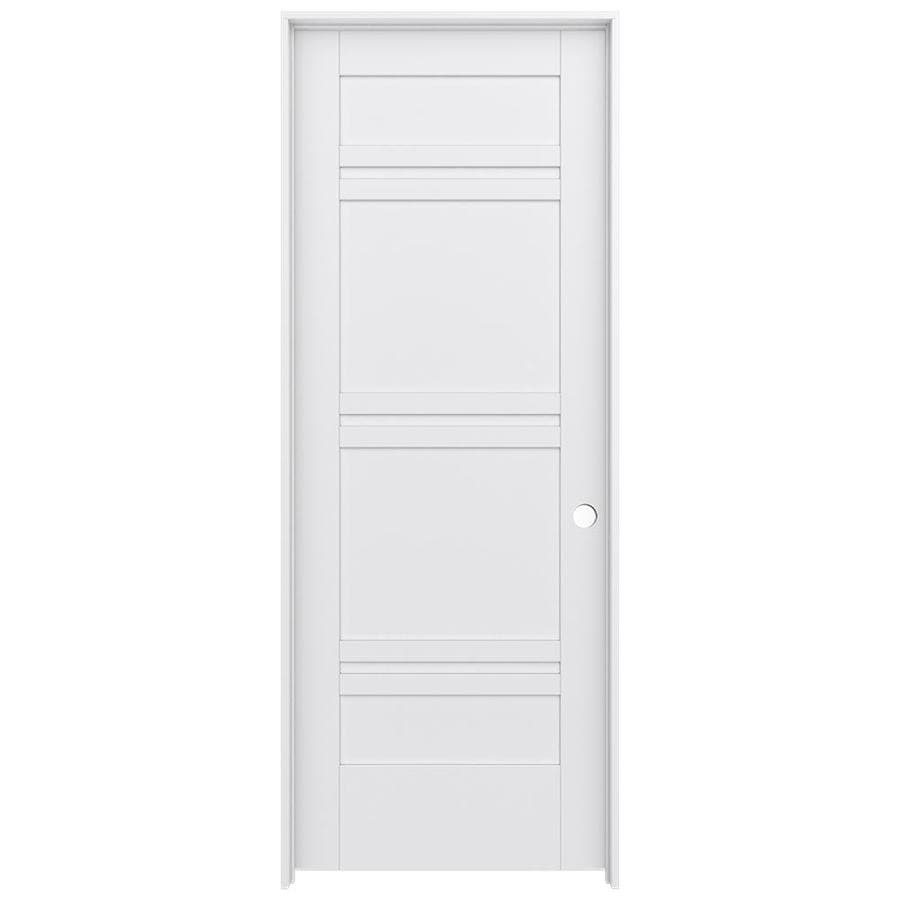 JELD-WEN MODA Primed Solid Core MDF Pine Single Prehung Interior Door (Common: 30-in x 80-in; Actual: 31.5600-in x 81.6900-in)