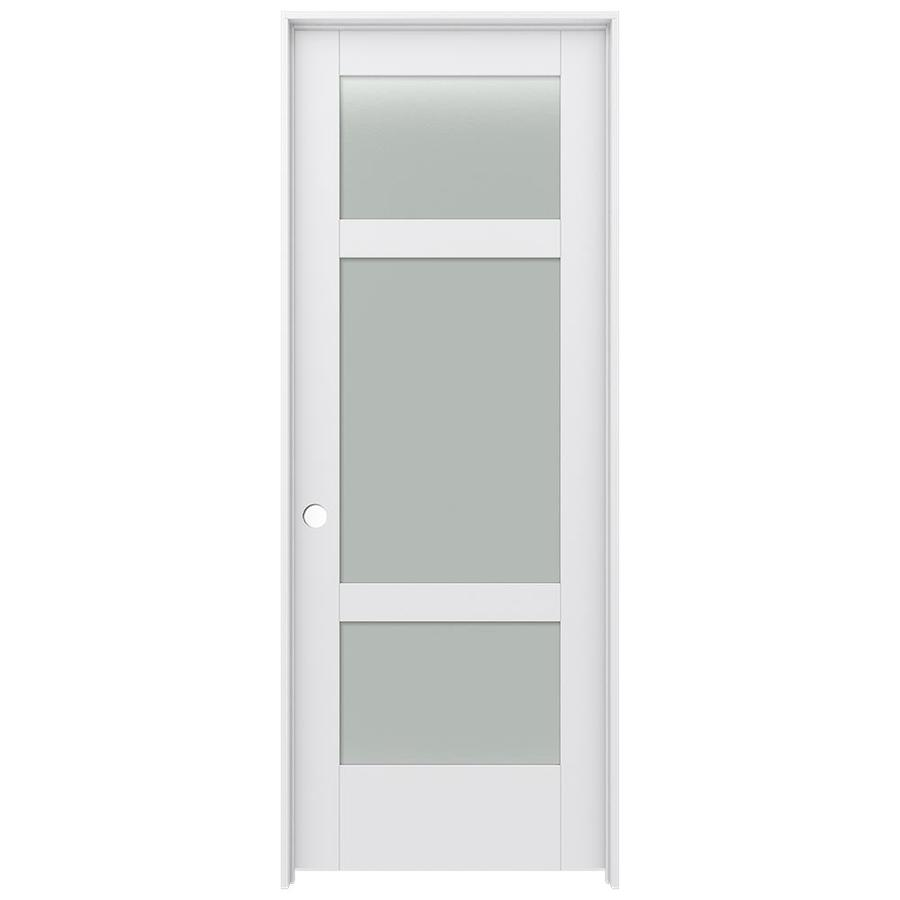 Shop jeld wen moda primed solid core frosted glass mdf for Solid core mdf interior doors