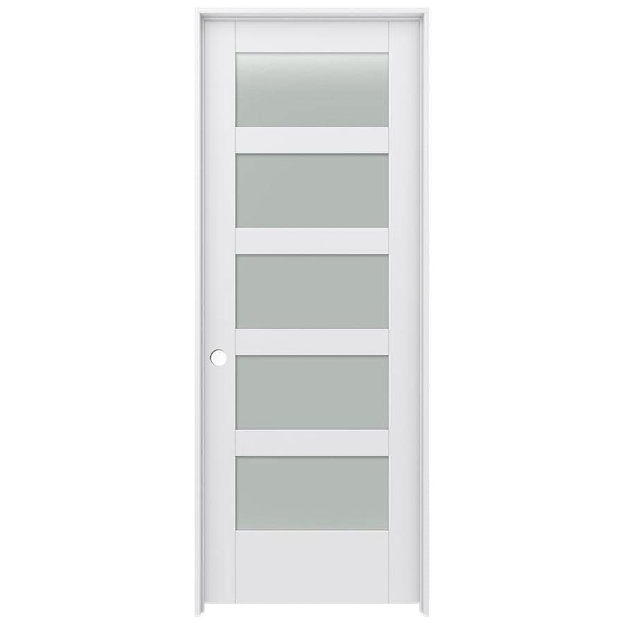 Shop Jeld Wen Moda Primed 5 Panel Equal Frosted Glass Wood Pine Single Prehung Door Common 30