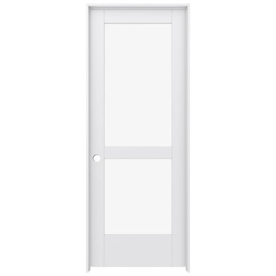 JELD WEN MODA Primed Solid Core Clear Glass MDF Pine Single Prehung  Interior Door (