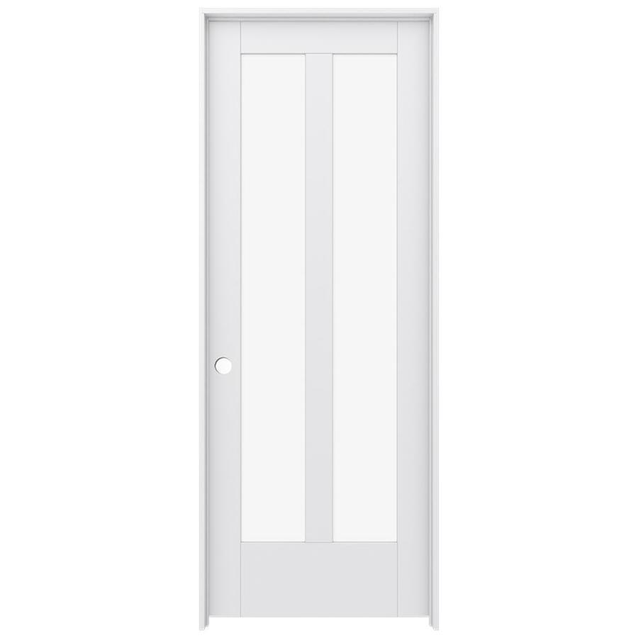 JELD-WEN MODA Primed Clear Glass Wood Pine Single Prehung Interior Door (Common: 30-in X 80-in; Actual: 31.5625-in x 81.9875-in)