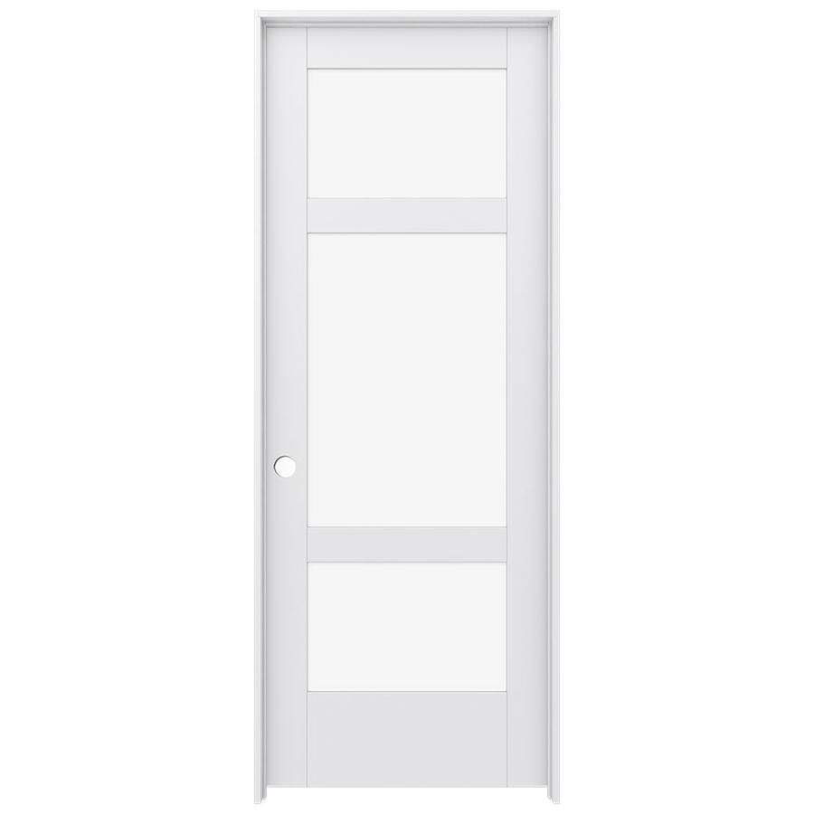 JELD-WEN MODA Primed Solid Core Clear Glass MDF Pine Single Prehung Interior Door (Common: 30-in x 80-in; Actual: 31.5600-in x 81.6900-in)