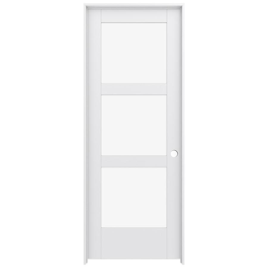 Shop jeld wen moda primed solid core clear glass mdf pine for Solid core exterior door with window