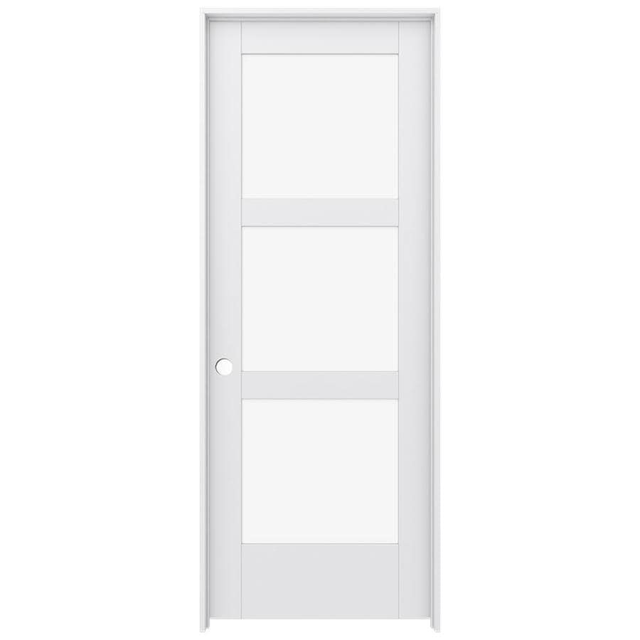 Shop Jeld Wen Moda Primed 3 Panel Square Clear Glass Wood Pine Single Prehung Door Common 30