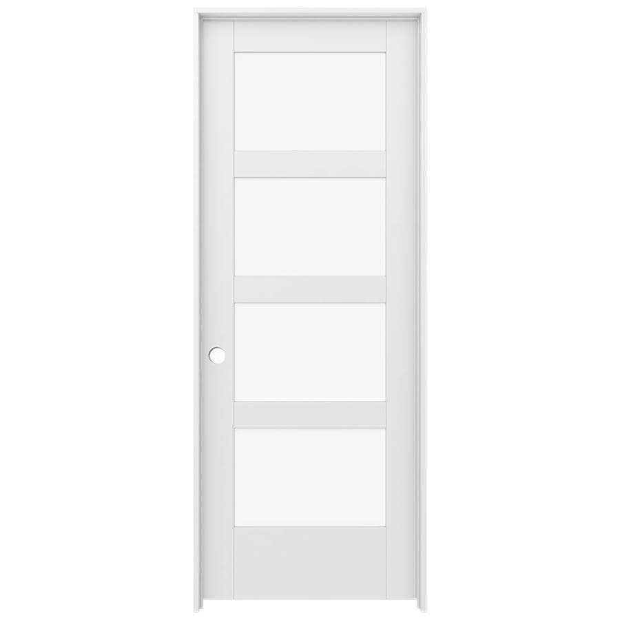 Shop jeld wen moda primed solid core clear glass mdf pine for Mdf solid core interior doors