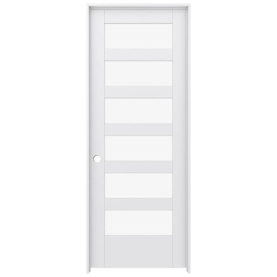 Shop Jeld Wen Moda Primed 6 Panel Clear Glass Wood Pine Single Pre Hung Door Common 30 In X 80