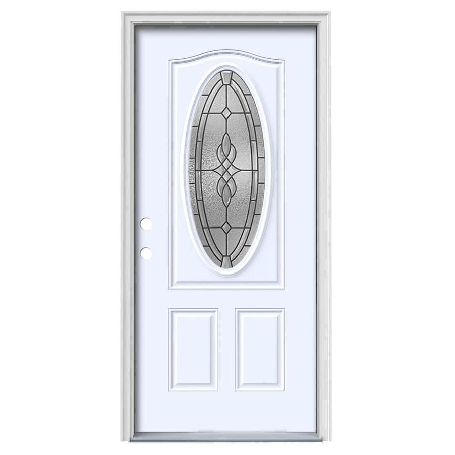 JELD-WEN Hampton Decorative Glass Right-Hand Inswing Steel Primed Entry Door (Common: 36-in x 80-in; Actual: 37.5-in x 81.75-in)