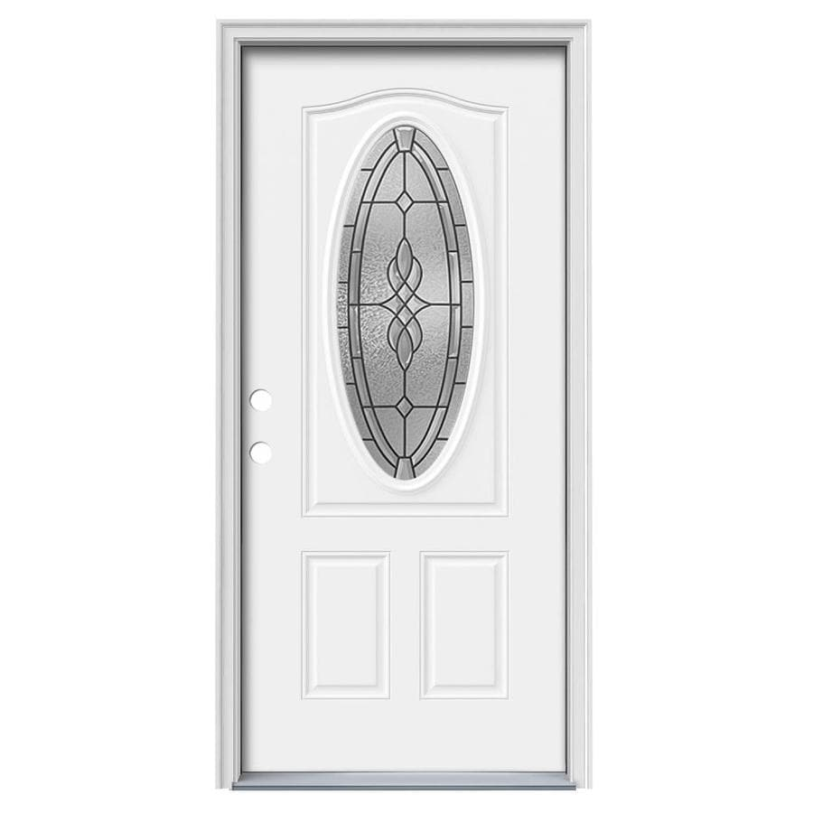 JELD-WEN Hampton 2-Panel Insulating Core Oval Lite Right-Hand Inswing Modern White Steel Painted Prehung Entry Door (Common: 36-in x 80-in; Actual: 37.5-in x 81.75-in)