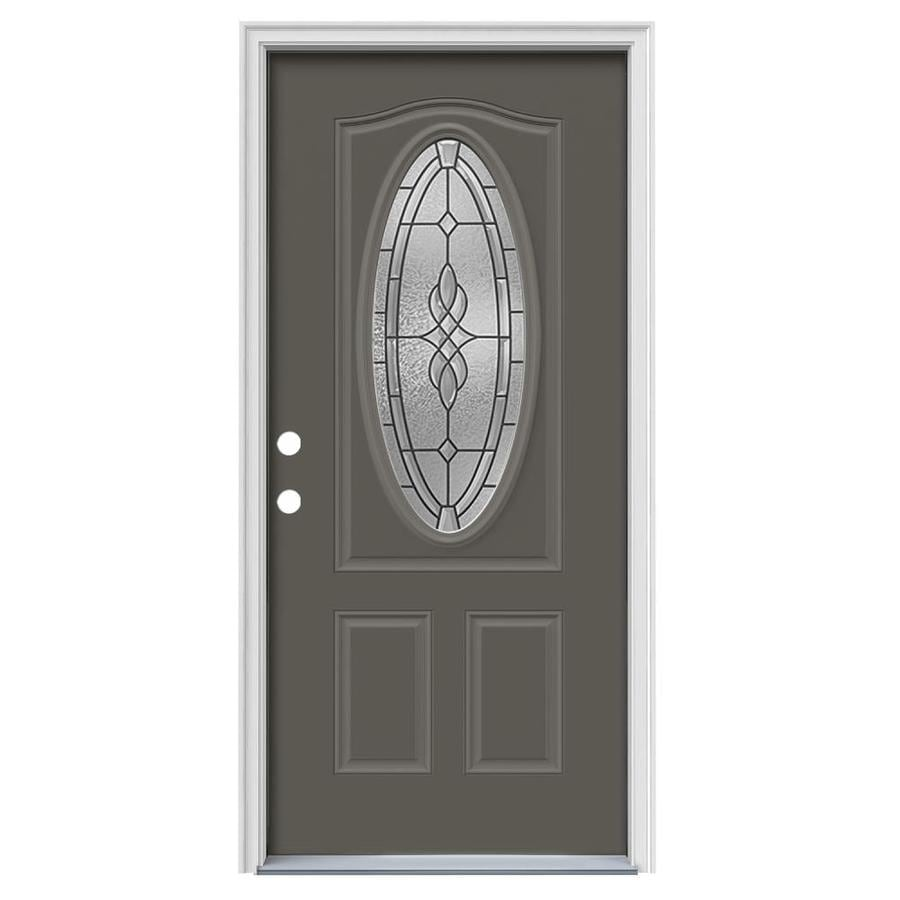 JELD-WEN Hampton Decorative Glass Right-Hand Inswing Timber Gray Steel Painted Entry Door (Common: 36-in x 80-in; Actual: 37.5000-in x 81.7500-in)