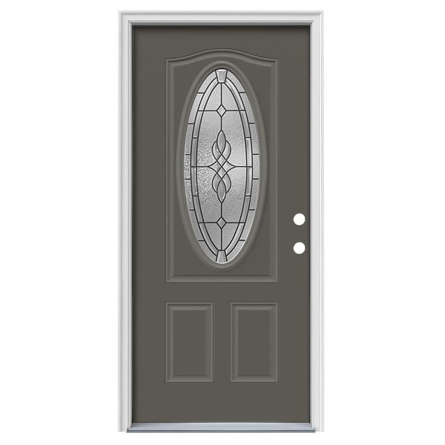 JELD-WEN Hampton Left-Hand Inswing Timber Gray Painted Steel Entry Door with Insulating Core (Common: 36-in x 80-in; Actual: 37.5-in x 81.75-in)