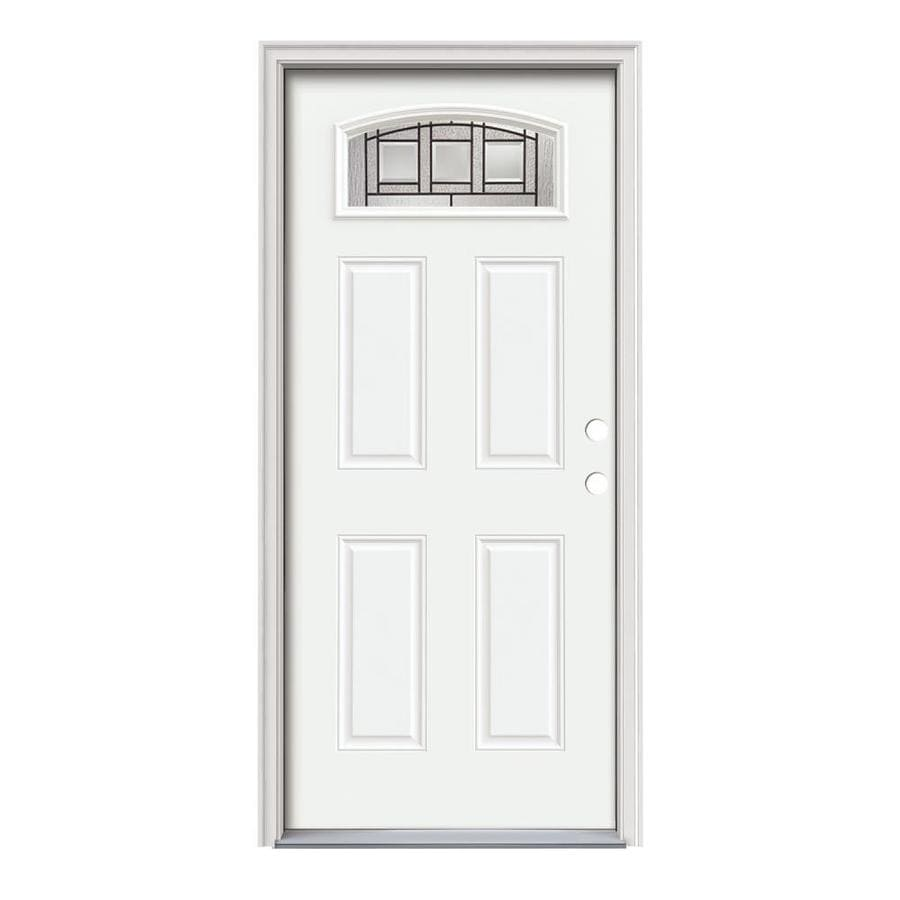JELD-WEN Craftsman Decorative Glass Left-Hand Inswing Modern White Painted Steel Prehung Entry Door with Insulating Core (Common: 36-in x 80-in; Actual: 37.5-in x 81.75-in)