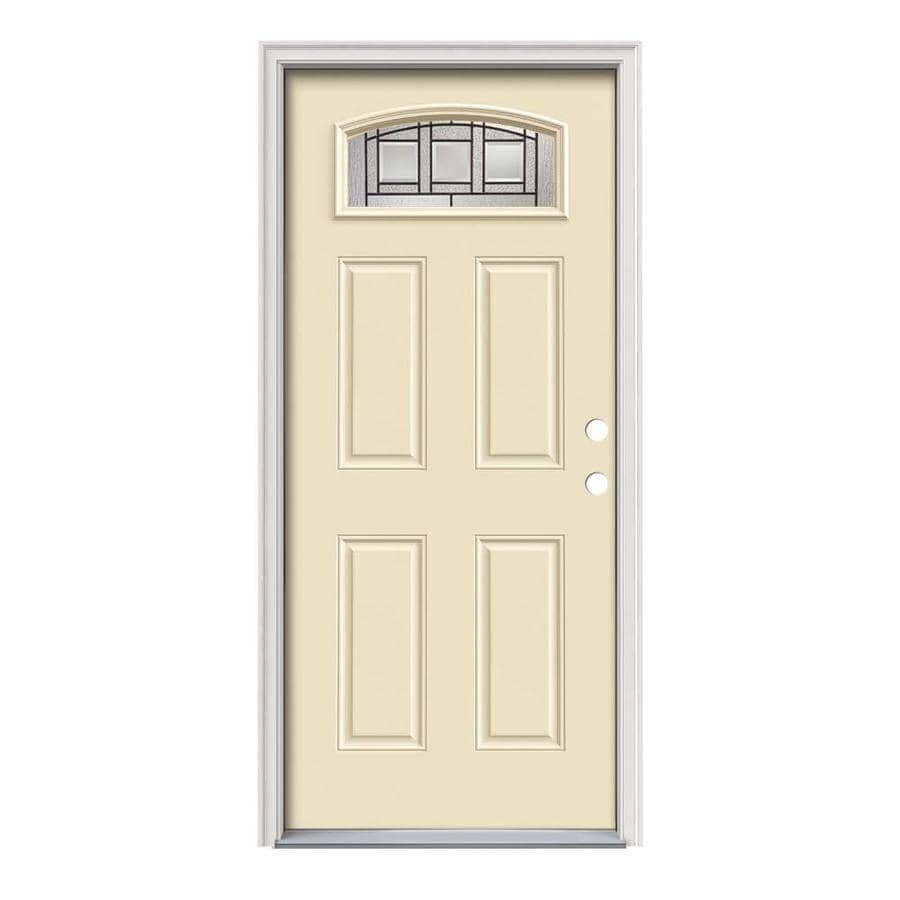 JELD-WEN Craftsman Glass 4-Panel Insulating Core Morelight Left-Hand Inswing Bisque Steel Painted Prehung Entry Door (Common: 36-in x 80-in; Actual: 37.5-in x 81.75-in)