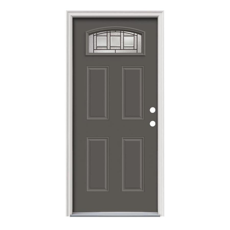 Shop jeld wen craftsman decorative glass left hand inswing timber gray steel painted entry door - Painting a steel exterior door model ...
