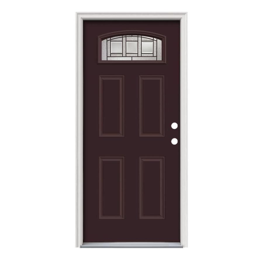 JELD-WEN Craftsman Glass 4-Panel Insulating Core Morelight Left-Hand Inswing Currant Steel Painted Prehung Entry Door (Common: 36-in x 80-in; Actual: 37.5-in x 81.75-in)