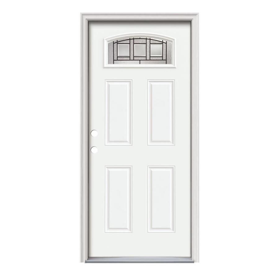 JELD-WEN Craftsman Glass 4-Panel Insulating Core Morelight Right-Hand Inswing Modern White Steel Painted Prehung Entry Door (Common: 36-in x 80-in; Actual: 37.5-in x 81.75-in)