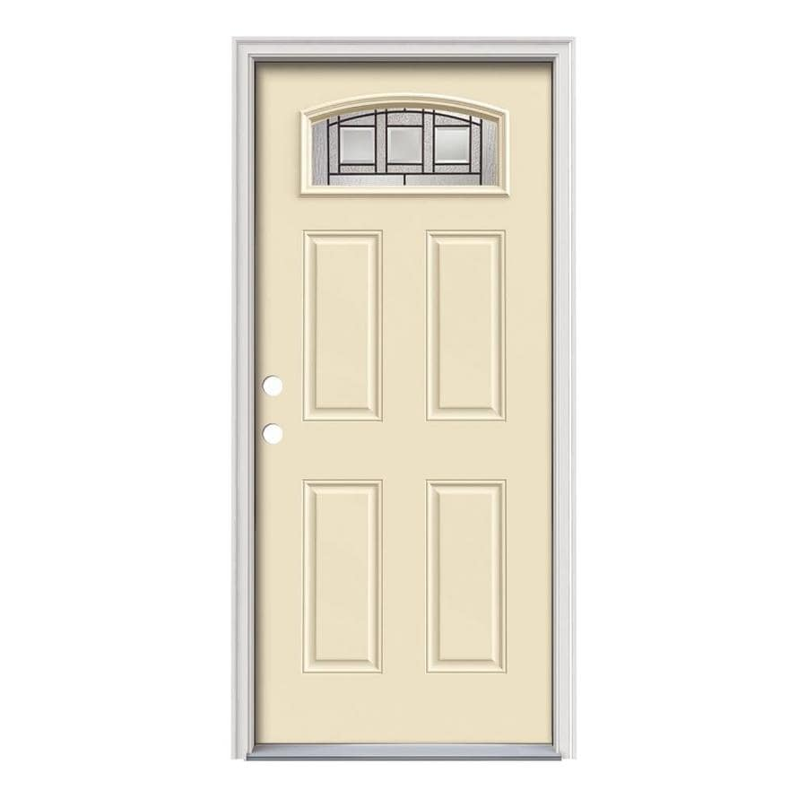 JELD-WEN Craftsman Glass 4-Panel Insulating Core Morelight Right-Hand Inswing Bisque Steel Painted Prehung Entry Door (Common: 36-in x 80-in; Actual: 37.5-in x 81.75-in)