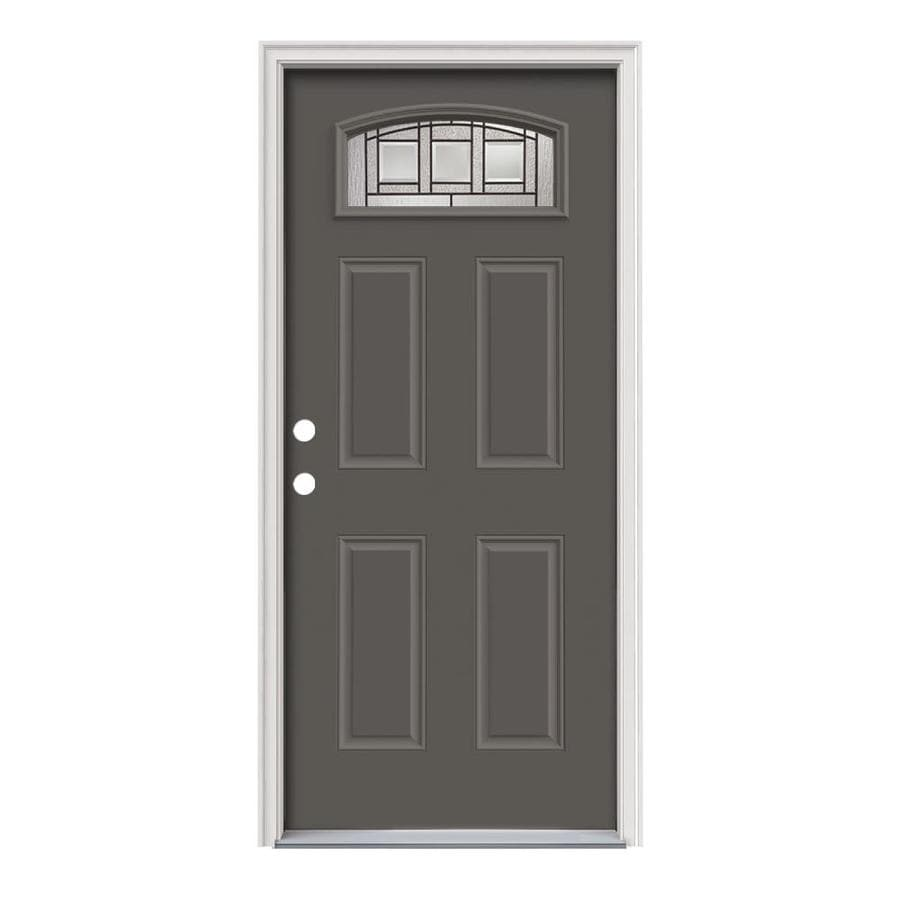 JELD-WEN Craftsman Glass 4-Panel Insulating Core Morelight Right-Hand Inswing Timber Gray Steel Painted Prehung Entry Door (Common: 36-in x 80-in; Actual: 37.5-in x 81.75-in)