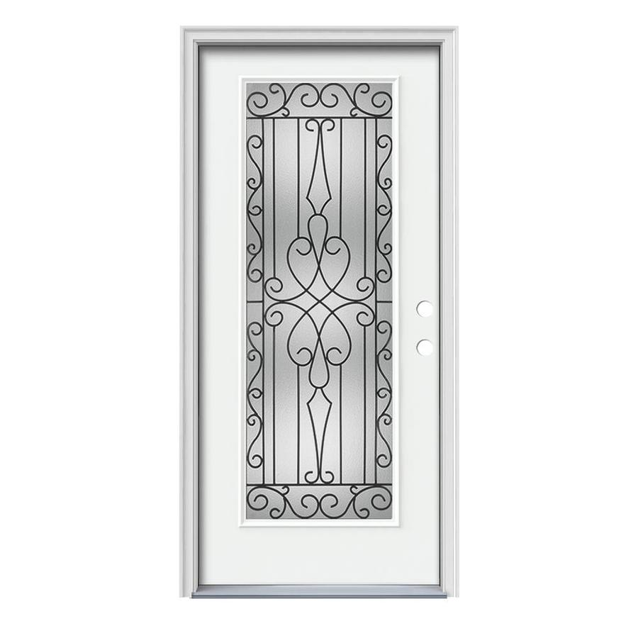 JELD-WEN Wyngate Flush Insulating Core Full Lite Left-Hand Inswing Modern White Steel Painted Prehung Entry Door (Common: 36-in x 80-in; Actual: 37.5-in x 81.75-in)