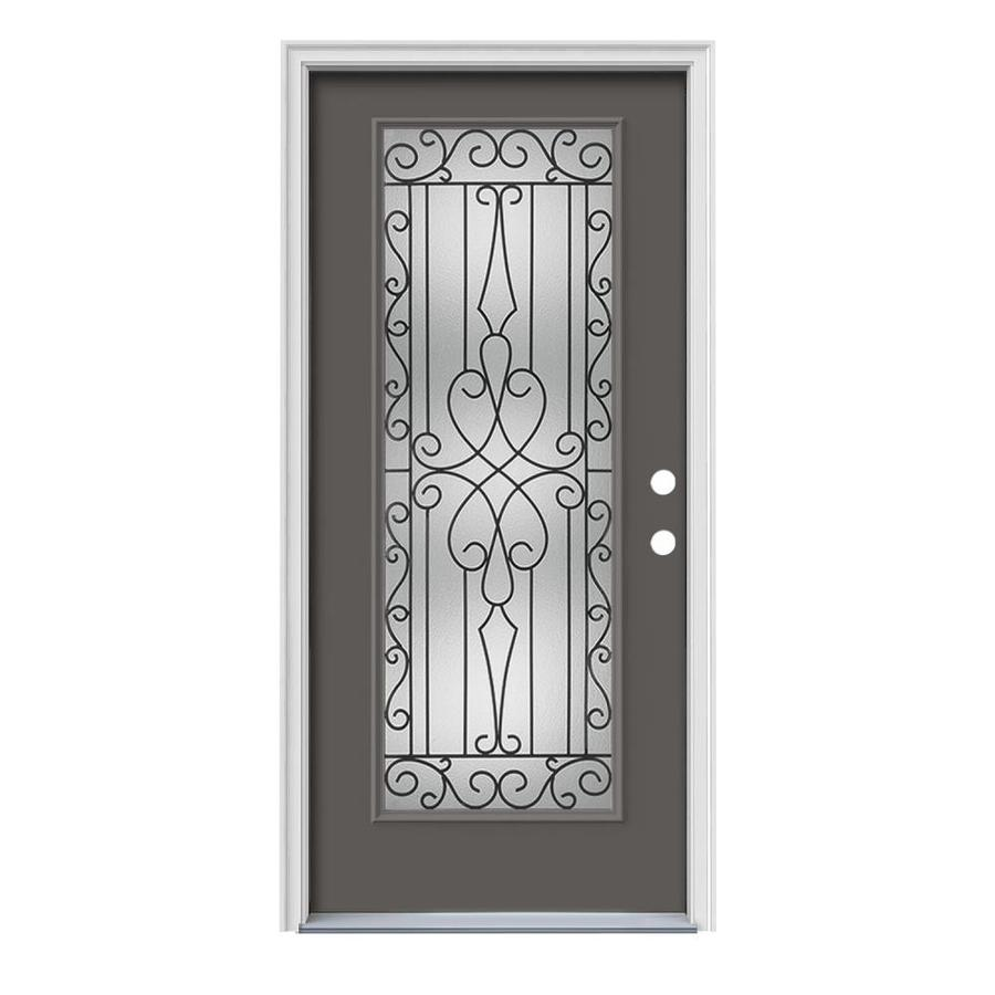 JELD-WEN Wyngate Flush Insulating Core Full Lite Left-Hand Inswing Timber Gray Steel Painted Prehung Entry Door (Common: 36-in x 80-in; Actual: 37.5-in x 81.75-in)