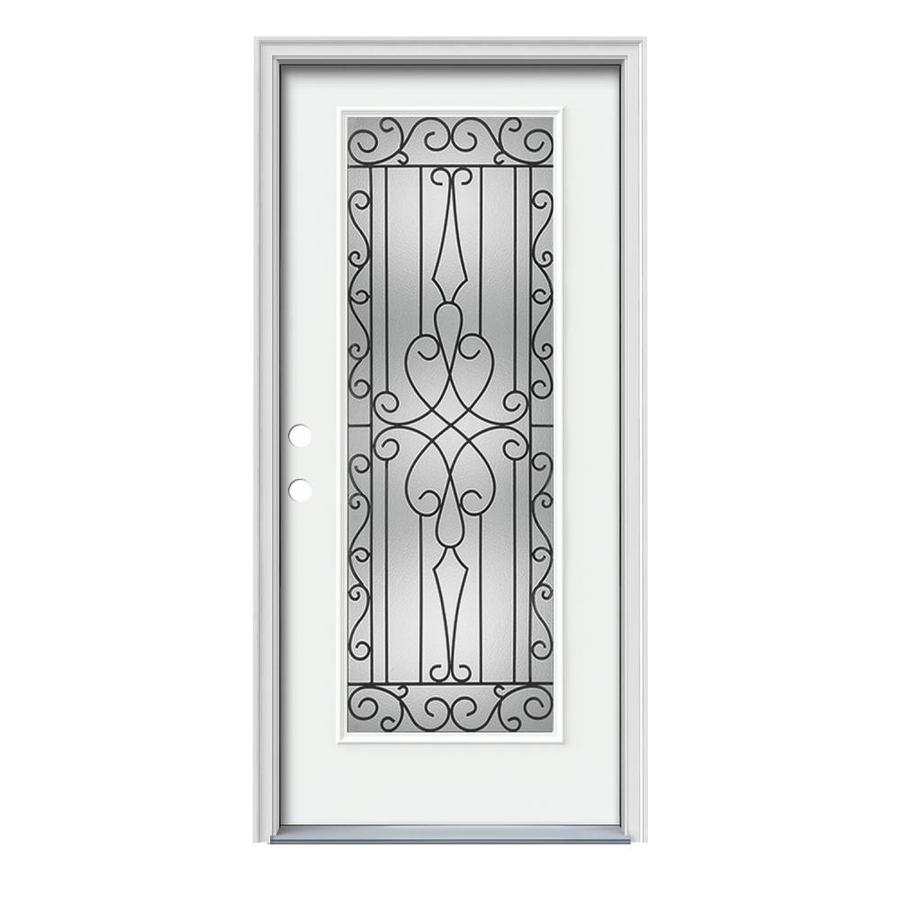 JELD-WEN Wyngate Decorative Glass Right-Hand Inswing Modern White Painted Steel Prehung Entry Door with Insulating Core (Common: 36-in x 80-in; Actual: 37.5000-in x 81.7500-in)