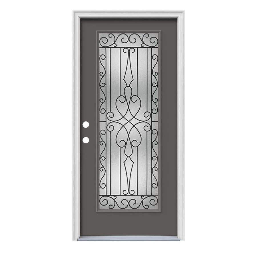 JELD-WEN Wyngate Decorative Glass Right-Hand Inswing Timber Gray Painted Steel Prehung Entry Door with Insulating Core (Common: 36-in x 80-in; Actual: 37.5-in x 81.75-in)