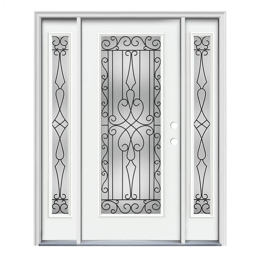 JELD-WEN Wyngate Decorative Glass Left-Hand Inswing Modern White Painted Steel Prehung Entry Door with Insulating Core (Common: 64-in x 80-in; Actual: 64.5000-in x 81.7500-in)