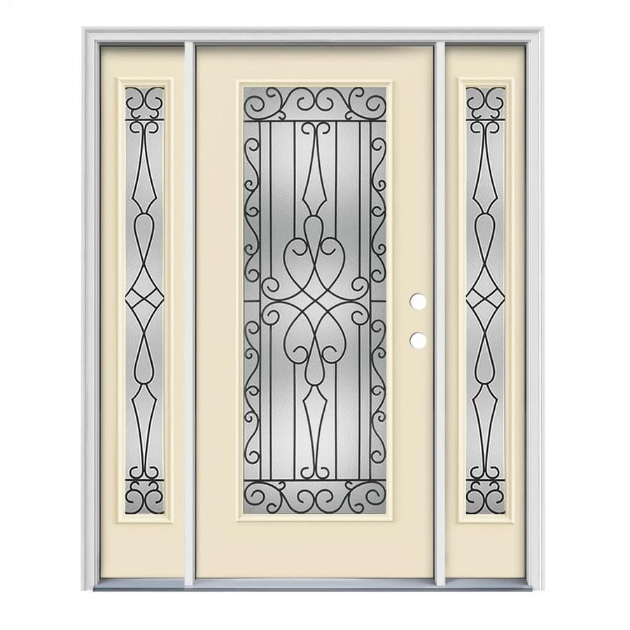 JELD-WEN Wyngate Decorative Glass Left-Hand Inswing Bisque Painted Steel Prehung Entry Door with Insulating Core (Common: 64-in x 80-in; Actual: 64.5-in x 81.75-in)
