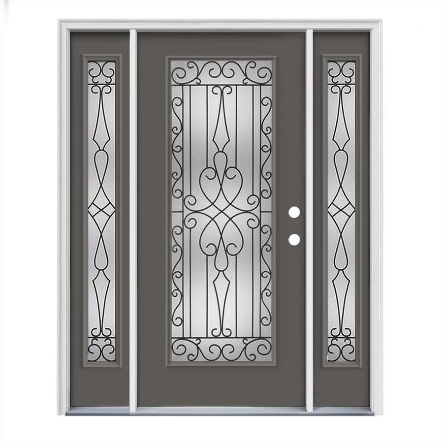 JELD-WEN Wyngate Flush Insulating Core Full Lite Left-Hand Inswing Timber Gray Steel Painted Prehung Entry Door (Common: 64-in x 80-in; Actual: 64.5-in x 81.75-in)