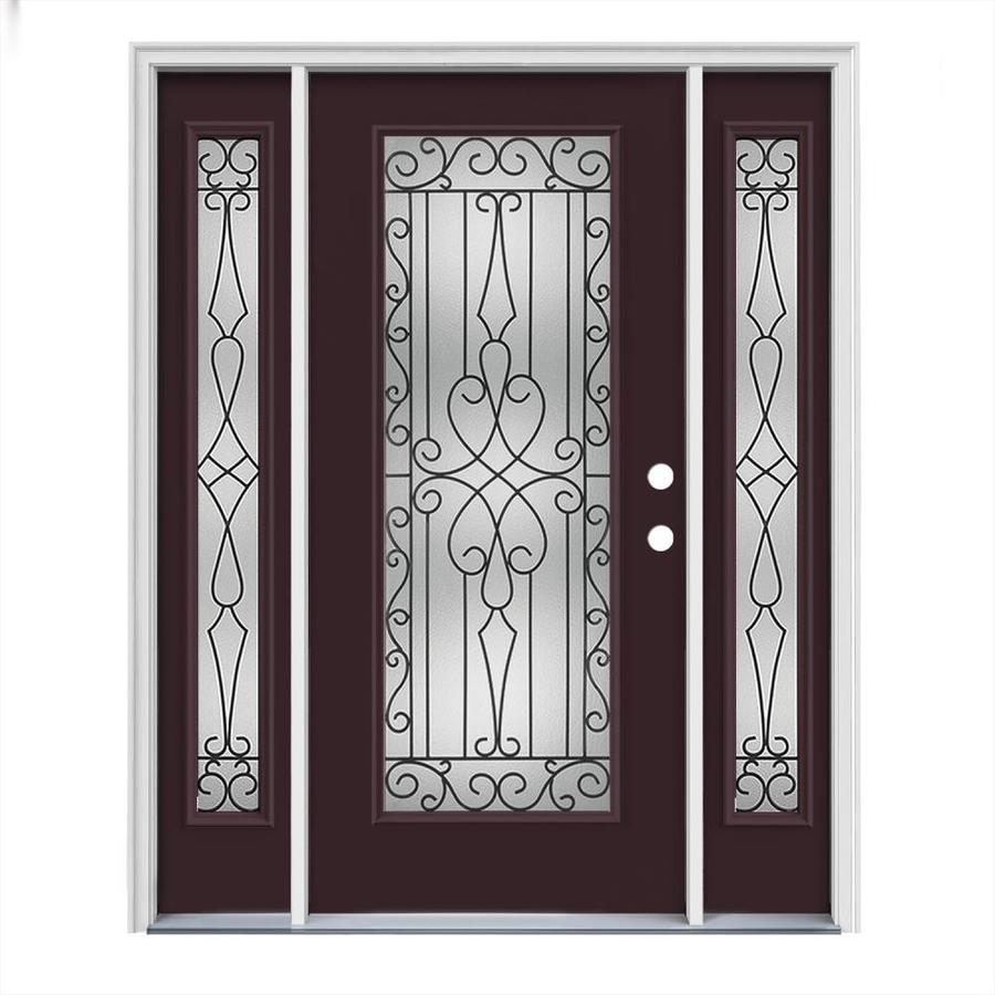 JELD-WEN Wyngate Flush Insulating Core Full Lite Left-Hand Inswing Currant Steel Painted Prehung Entry Door (Common: 64-in x 80-in; Actual: 64.5-in x 81.75-in)