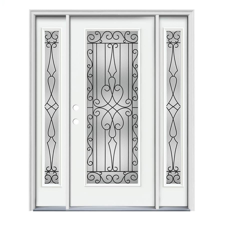 JELD-WEN Wyngate Decorative Glass Right-Hand Inswing Modern White Painted Steel Prehung Entry Door with Insulating Core (Common: 64-in x 80-in; Actual: 64.5000-in x 81.7500-in)