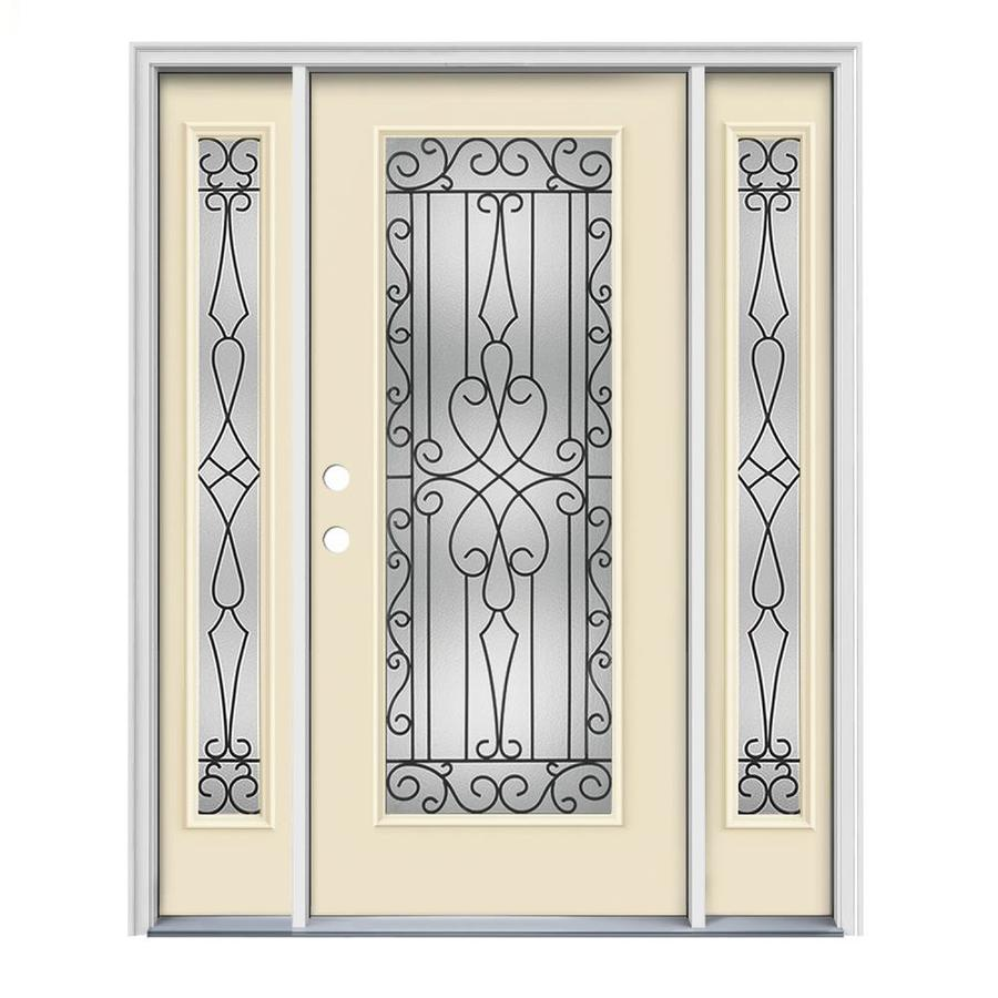 JELD-WEN Wyngate Decorative Glass Right-Hand Inswing Bisque Painted Steel Prehung Entry Door with Insulating Core (Common: 64-in x 80-in; Actual: 64.5000-in x 81.7500-in)