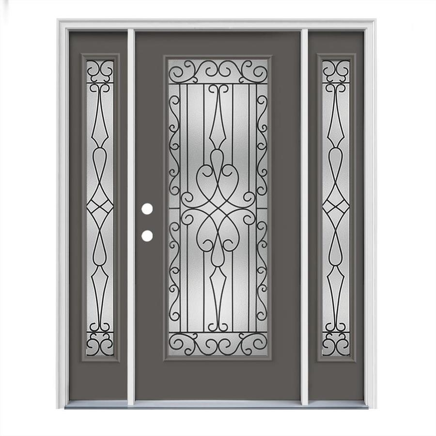 JELD-WEN Wyngate Flush Insulating Core Full Lite Right-Hand Inswing Timber Gray Steel Painted Prehung Entry Door (Common: 64-in x 80-in; Actual: 64.5-in x 81.75-in)