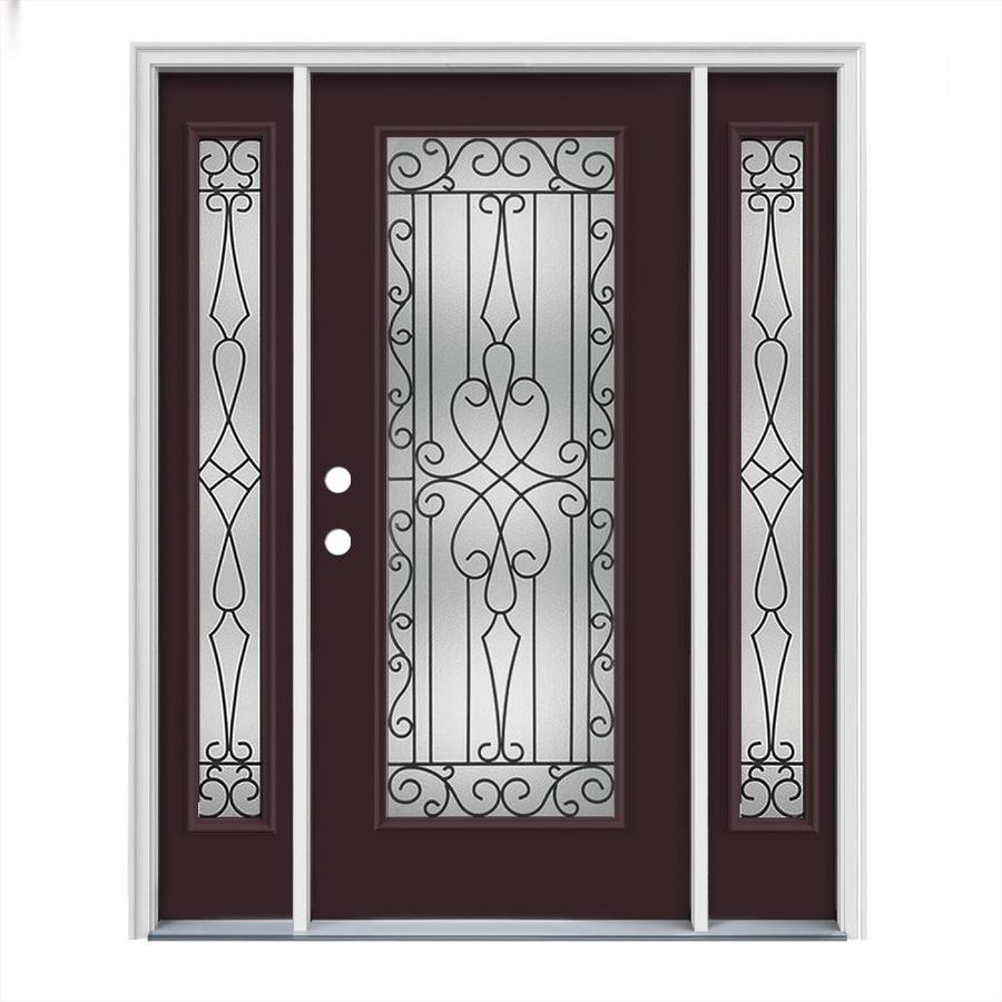JELD-WEN Wyngate Flush Insulating Core Full Lite Right-Hand Inswing Currant Steel Painted Prehung Entry Door (Common: 64-in x 80-in; Actual: 64.5-in x 81.75-in)