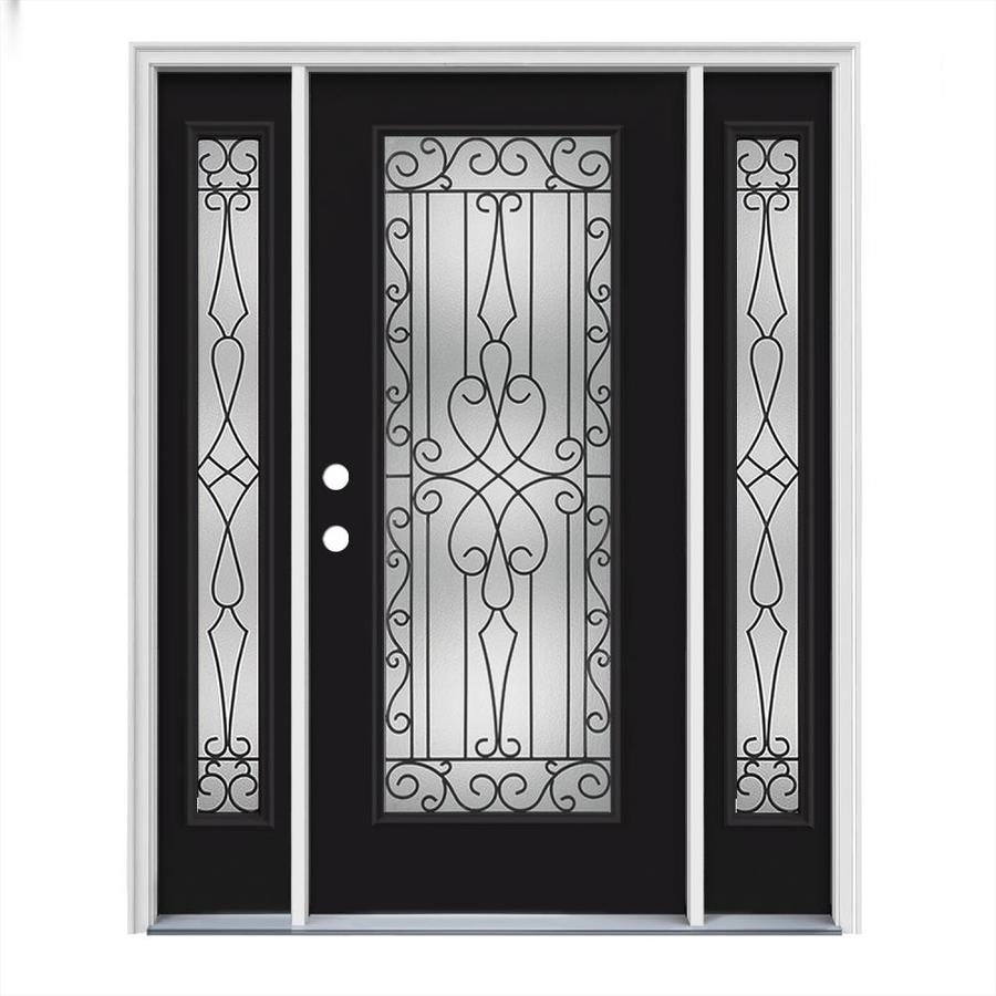 JELD-WEN Wyngate Decorative Glass Right-Hand Inswing Peppercorn Steel Painted Entry Door (Common: 64-in x 80-in; Actual: 64.5000-in x 81.7500-in)