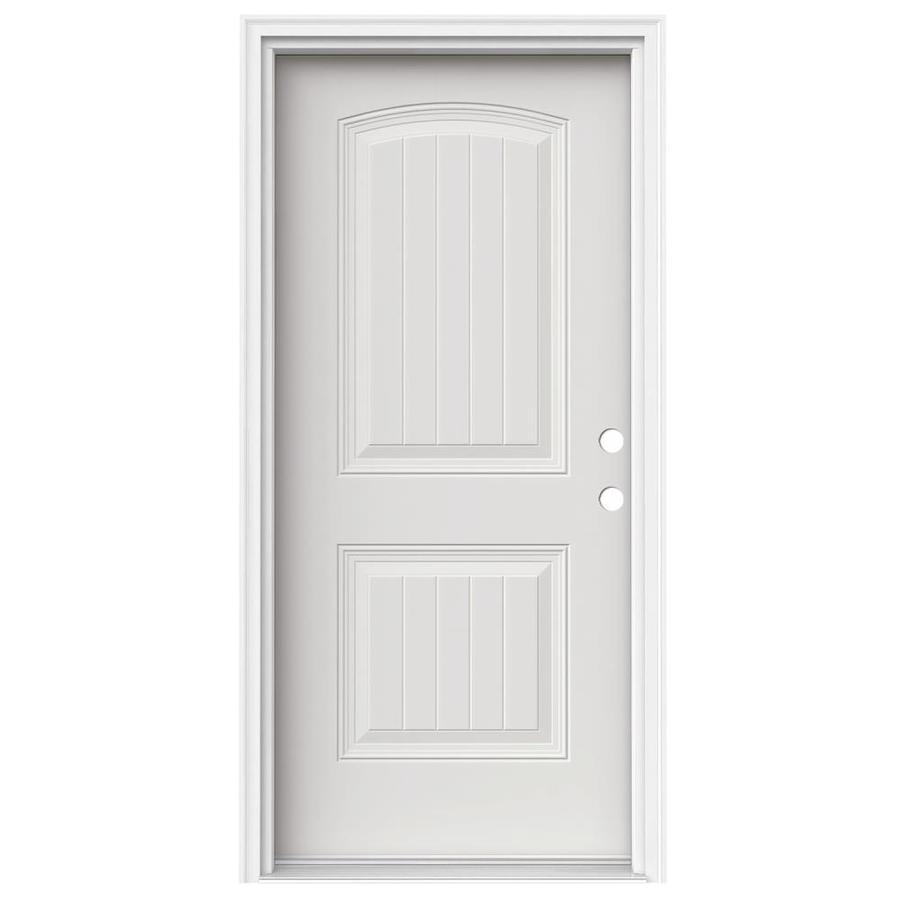 JELD-WEN 2-Panel Insulating Core Left-Hand Inswing Steel Primed Prehung Entry Door (Common: 36-in x 80-in; Actual: 37.5-in x 81.75-in)