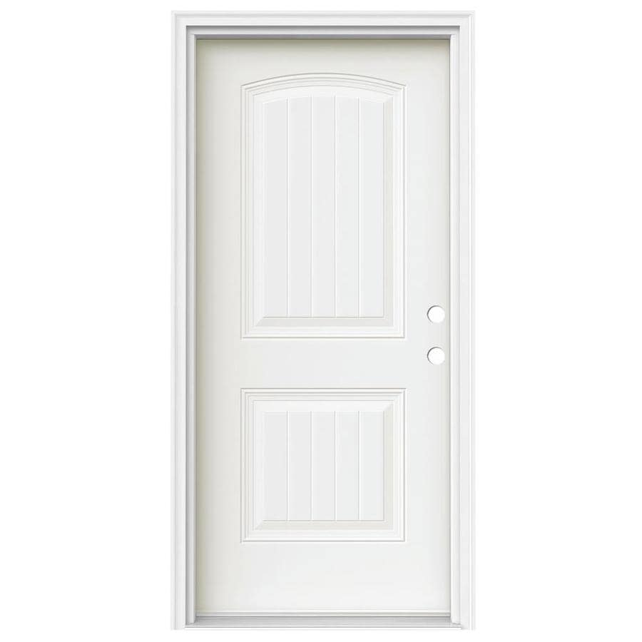 JELD-WEN 2-Panel Insulating Core Left-Hand Inswing Modern White Steel Painted Prehung Entry Door (Common: 36-in x 80-in; Actual: 37.5-in x 81.75-in)