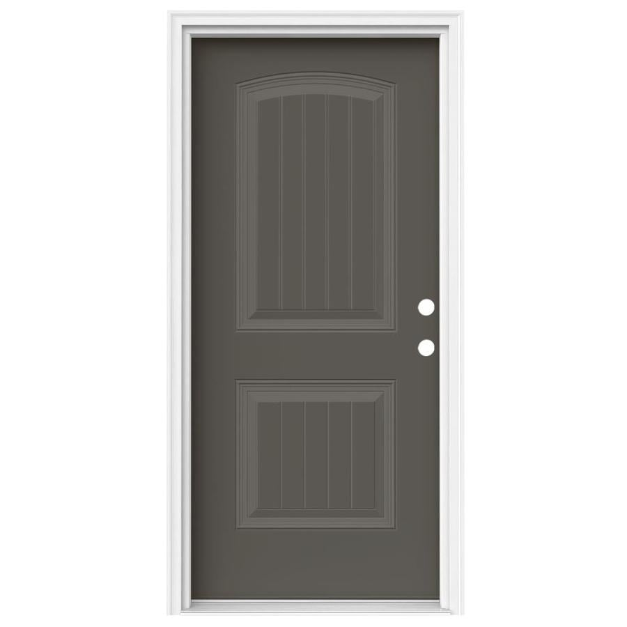 JELD-WEN 2-Panel Insulating Core Left-Hand Inswing Timber Gray Steel Painted Prehung Entry Door (Common: 36-in x 80-in; Actual: 37.5-in x 81.75-in)