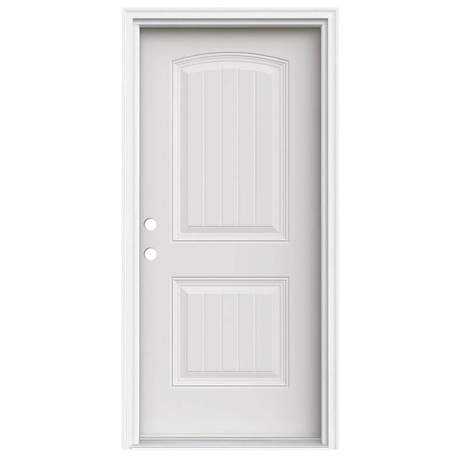 JELD-WEN 2-Panel Insulating Core Right-Hand Inswing Steel Primed Prehung Entry Door (Common: 36-in x 80-in; Actual: 37.5-in x 81.75-in)