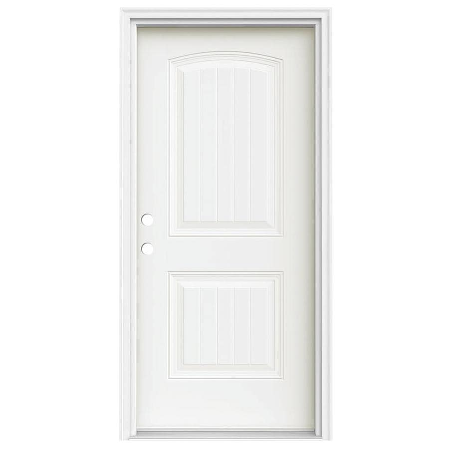 JELD-WEN 2-Panel Insulating Core Right-Hand Inswing Modern White Steel Painted Prehung Entry Door (Common: 36-in x 80-in; Actual: 37.5-in x 81.75-in)
