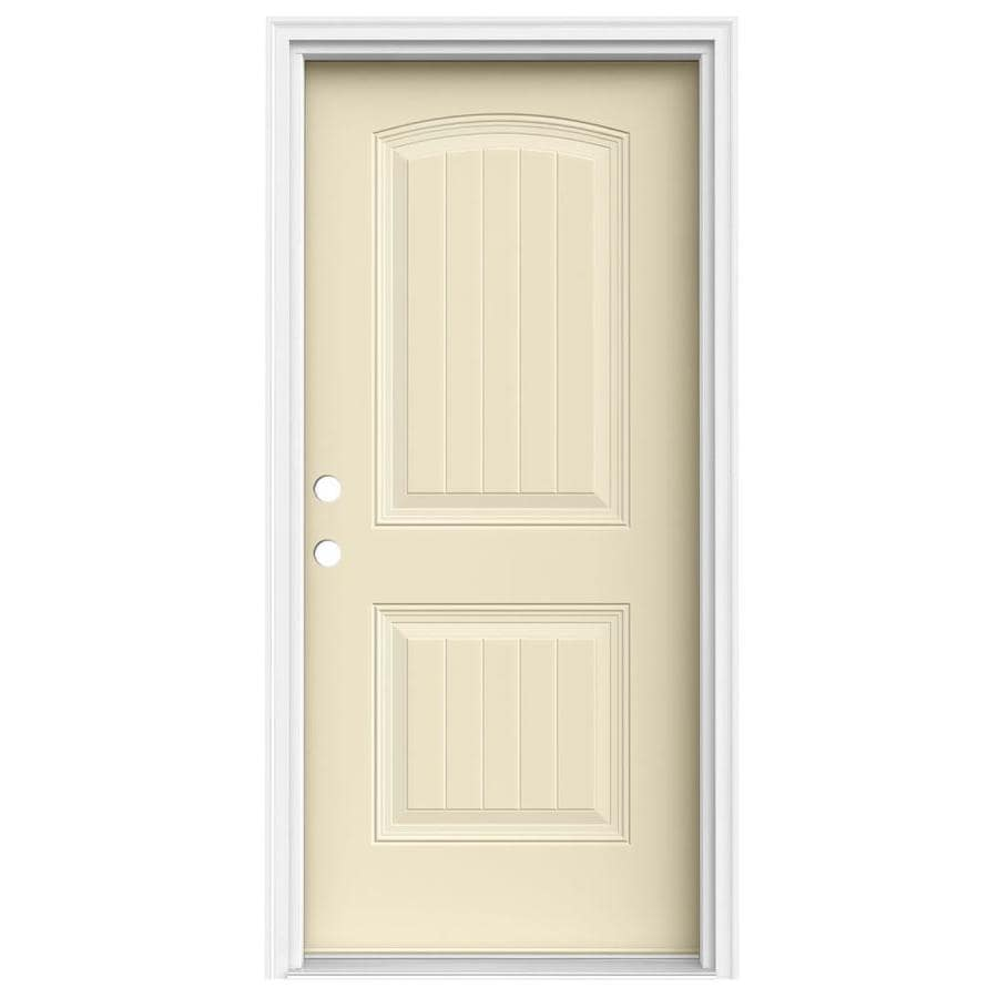 JELD-WEN 2-Panel Insulating Core Right-Hand Inswing Bisque Steel Painted Prehung Entry Door (Common: 36-in x 80-in; Actual: 37.5-in x 81.75-in)