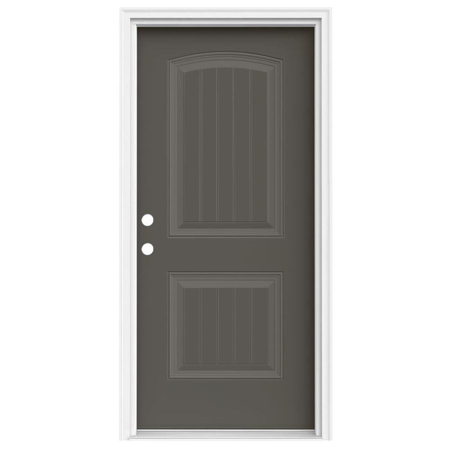 JELD-WEN Right-Hand Inswing Timber Gray Painted Steel Prehung Entry Door with Insulating Core (Common: 36-in x 80-in; Actual: 37.5000-in x 81.7500-in)