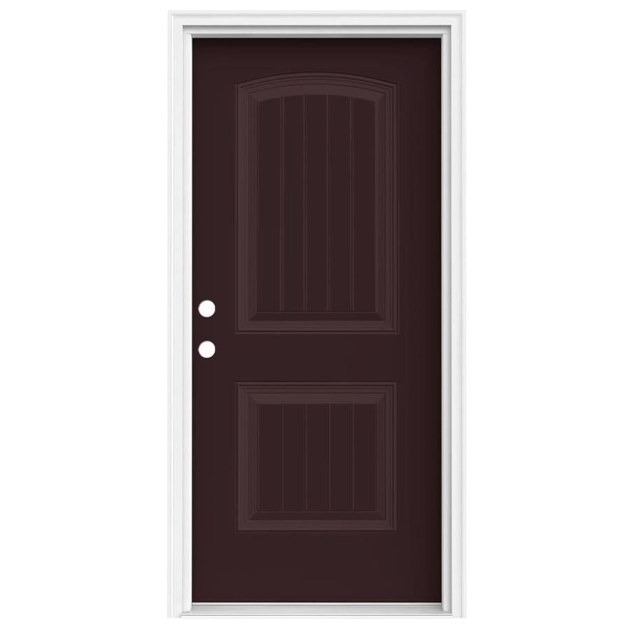 JELD-WEN 2-Panel Insulating Core Right-Hand Inswing Currant Steel Painted Prehung Entry Door (Common: 36-in x 80-in; Actual: 37.5-in x 81.75-in)