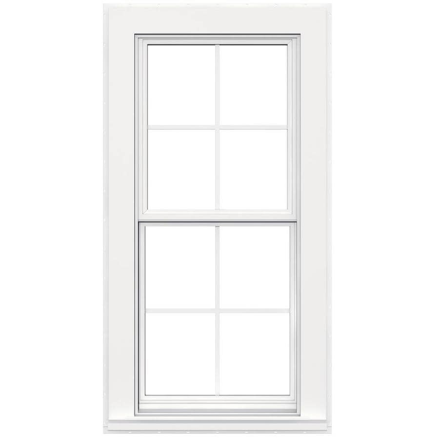 JELD-WEN Flat Casing Vinyl Double Pane Strength Replacement Double Hung Window (Rough Opening: 24-in x 38-in; Actual: 23.5-in x 37.5-in)