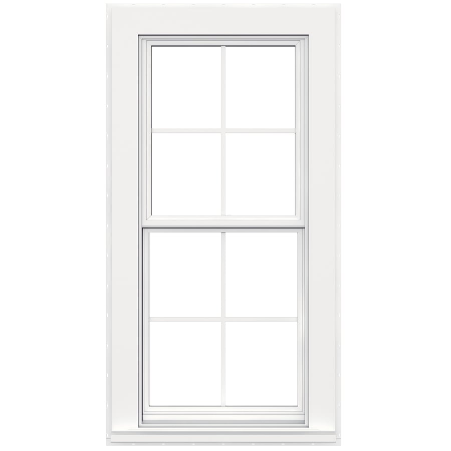 JELD-WEN Flat Casing Vinyl Double Pane Double Strength Replacement Double Hung Window (Rough Opening: 28-in x 54-in; Actual: 27.5-in x 53.5-in)