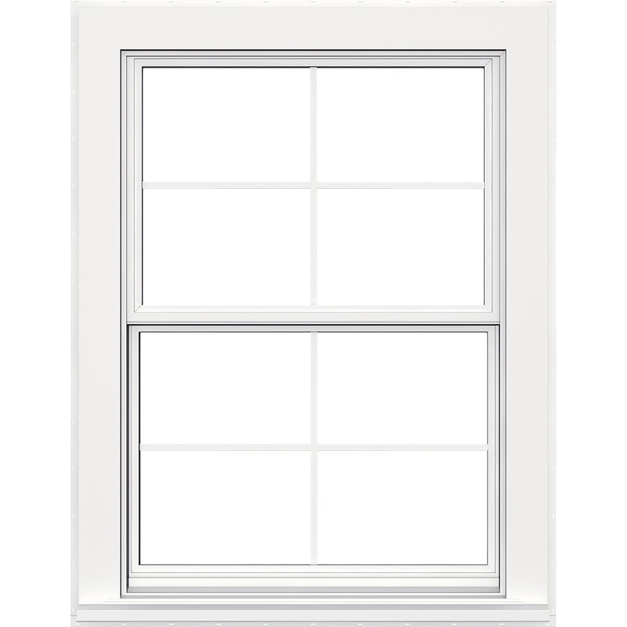 JELD-WEN Flat Casing Vinyl Double Pane Strength Replacement Double Hung Window (Rough Opening: 36-in x 48-in; Actual: 35.5-in x 47.5-in)