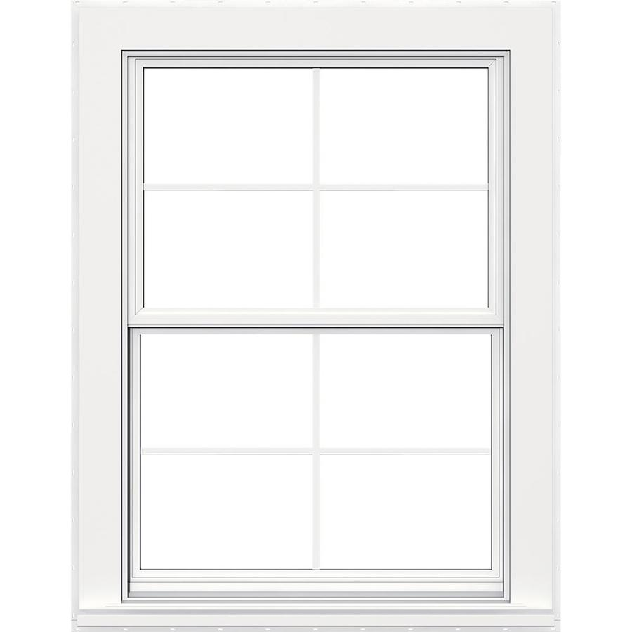 JELD-WEN Flat Casing Vinyl Double Pane Strength Replacement Double Hung Window (Rough Opening: 36-in x 60-in; Actual: 35.5-in x 59.5-in)