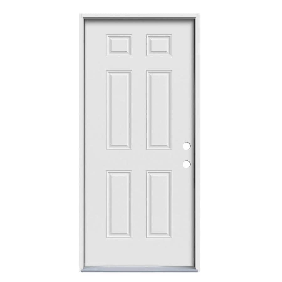 JELD-WEN 6-Panel Insulating Core Left-Hand Inswing Steel Primed Prehung Entry Door (Common: 32-in x 74-in; Actual: 33.5-in x 75.75-in)