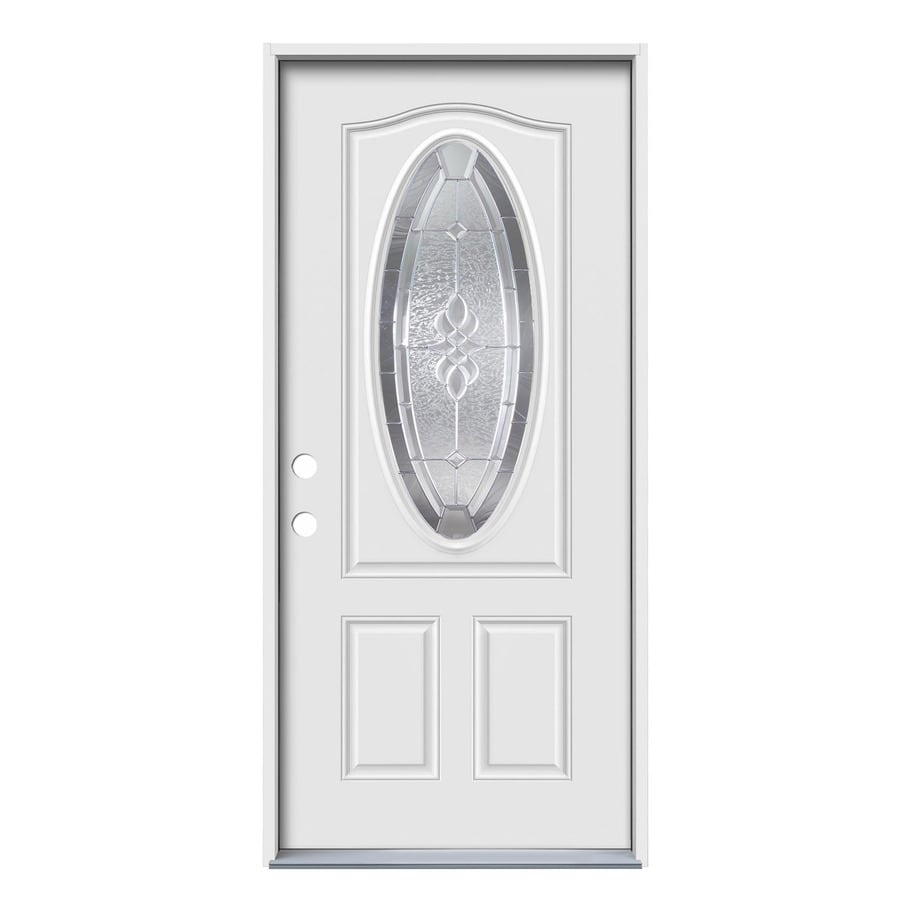 JELD-WEN 2-Panel Insulating Core Oval Lite Right-Hand Inswing White Steel Primed Prehung Entry Door (Common: 36-in x 80-in; Actual: 37.5-in x 81.75-in)