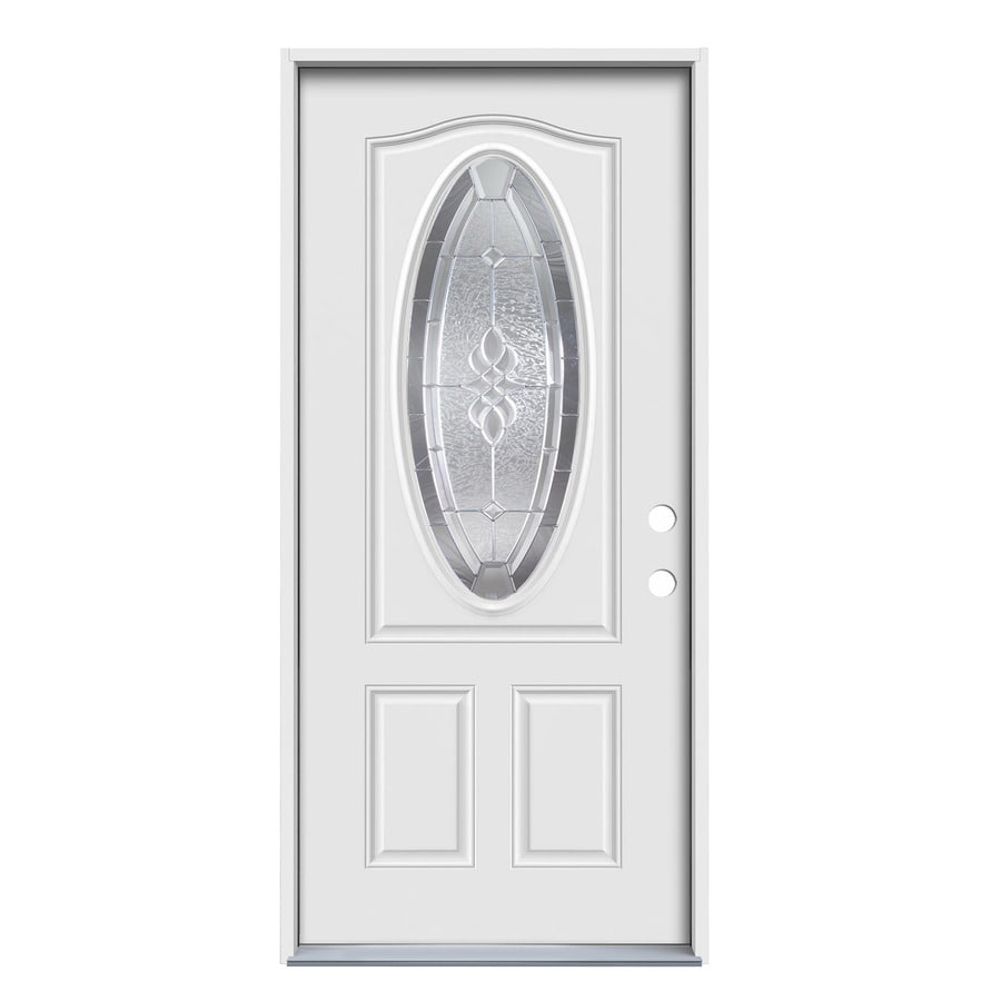 JELD-WEN 2-Panel Insulating Core Oval Lite Left-Hand Inswing White Steel Primed Prehung Entry Door (Common: 36.0000-in x 80.0000-in; Actual: 37.5000-in x 81.7500-in)